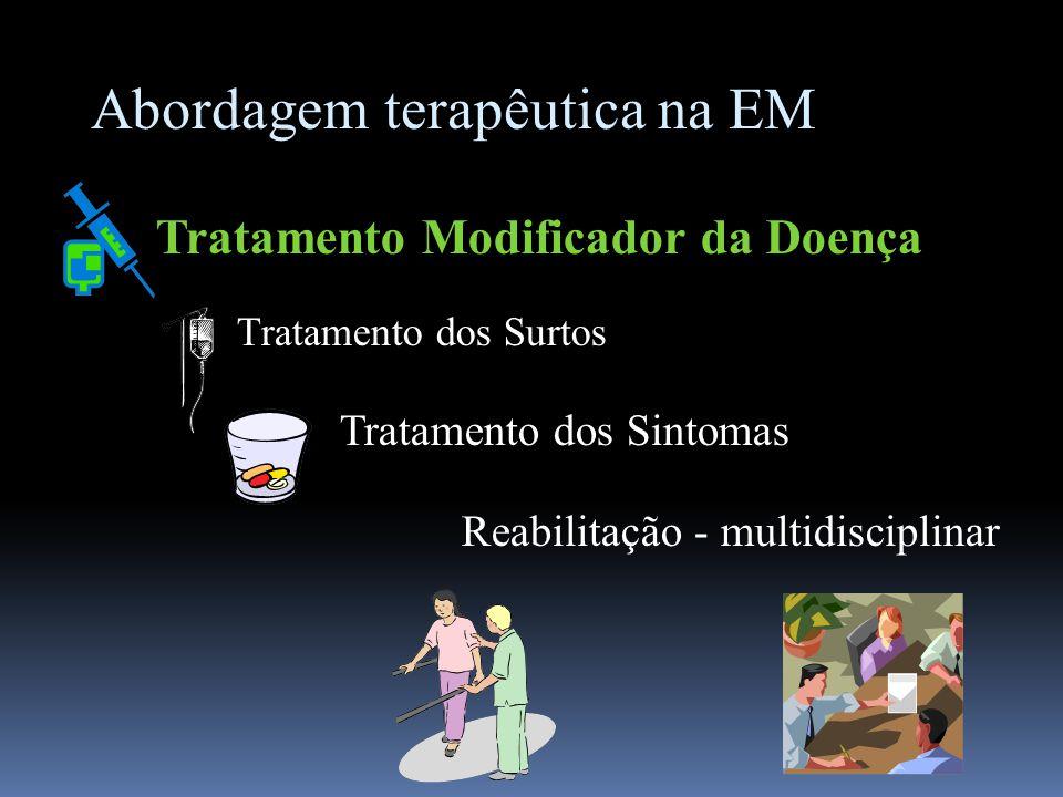 Abordagem terapêutica na EM Tratamento Modificador da Doença Tratamento dos Surtos Tratamento dos Sintomas Reabilitação - multidisciplinar