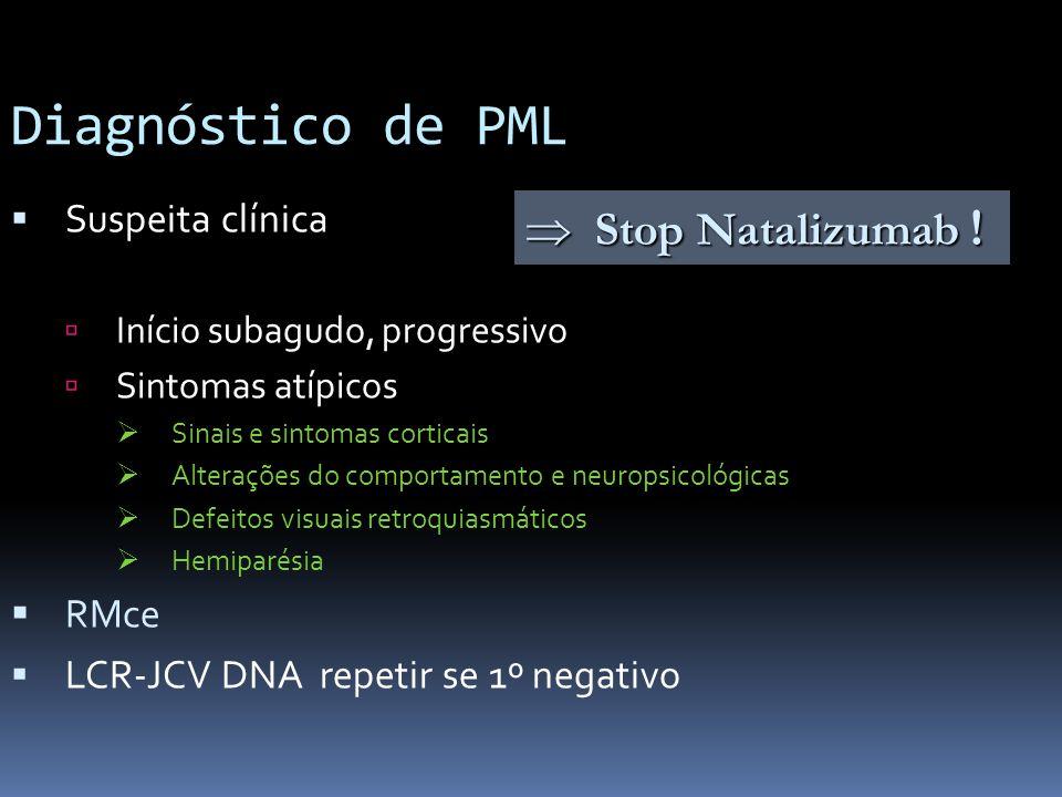 Diagnóstico de PML Suspeita clínica Início subagudo, progressivo Sintomas atípicos Sinais e sintomas corticais Alterações do comportamento e neuropsic