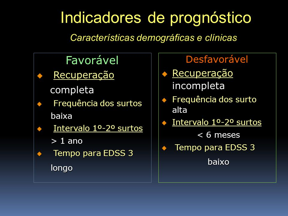 Indicadores de prognóstico Características demográficas e clínicas Indicadores de prognóstico Características demográficas e clínicas Favorável Recupe