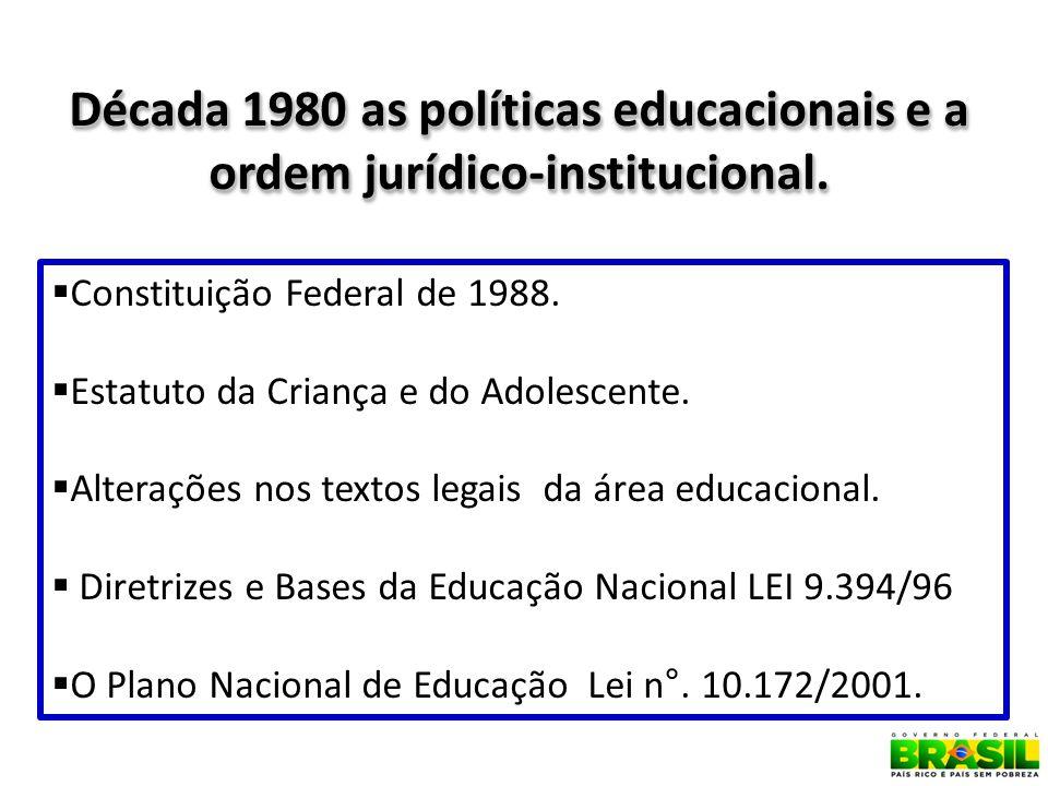 10 Década 1980 as políticas educacionais e a ordem jurídico-institucional.