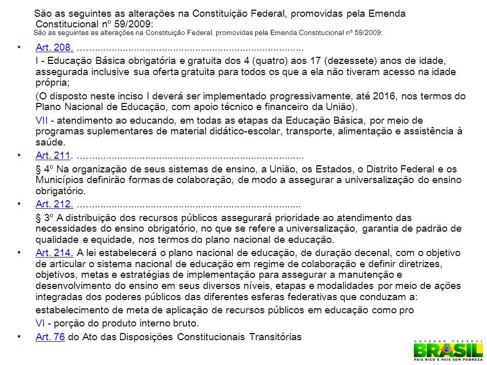 São as seguintes as alterações na Constituição Federal, promovidas pela Emenda Constitucional nº 59/2009: Art.
