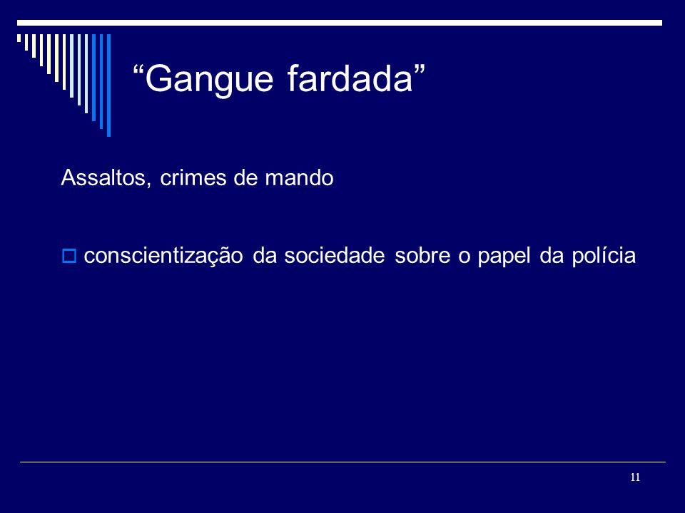11 Gangue fardada Assaltos, crimes de mando conscientização da sociedade sobre o papel da polícia