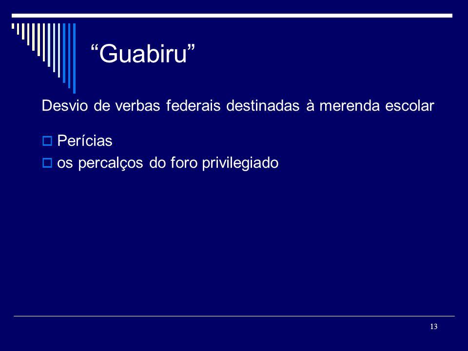 13 Guabiru Desvio de verbas federais destinadas à merenda escolar Perícias os percalços do foro privilegiado