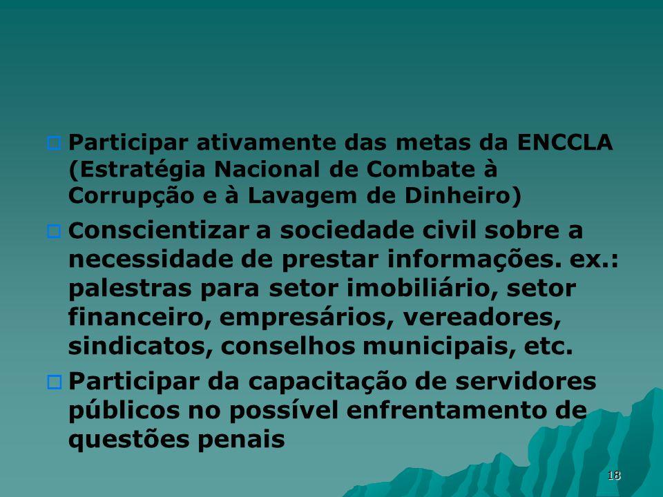 18 Participar ativamente das metas da ENCCLA (Estratégia Nacional de Combate à Corrupção e à Lavagem de Dinheiro) C onscientizar a sociedade civil sobre a necessidade de prestar informações.
