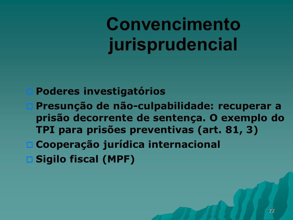 22 Convencimento jurisprudencial Poderes investigatórios Presunção de não-culpabilidade: recuperar a prisão decorrente de sentença.