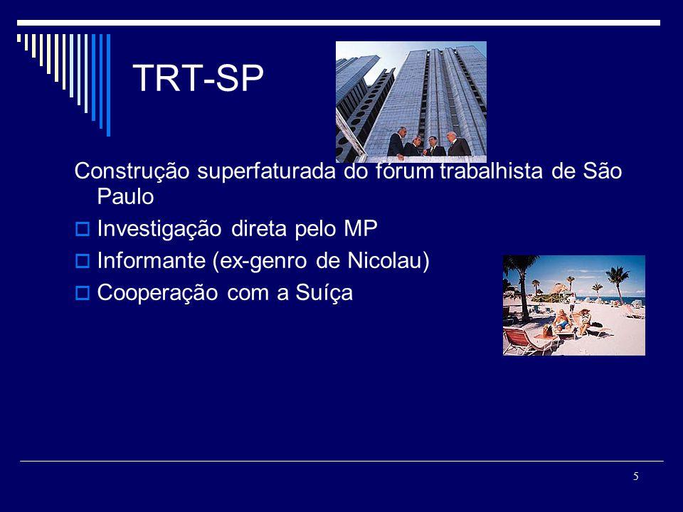 5 TRT-SP Construção superfaturada do fórum trabalhista de São Paulo Investigação direta pelo MP Informante (ex-genro de Nicolau) Cooperação com a Suíça