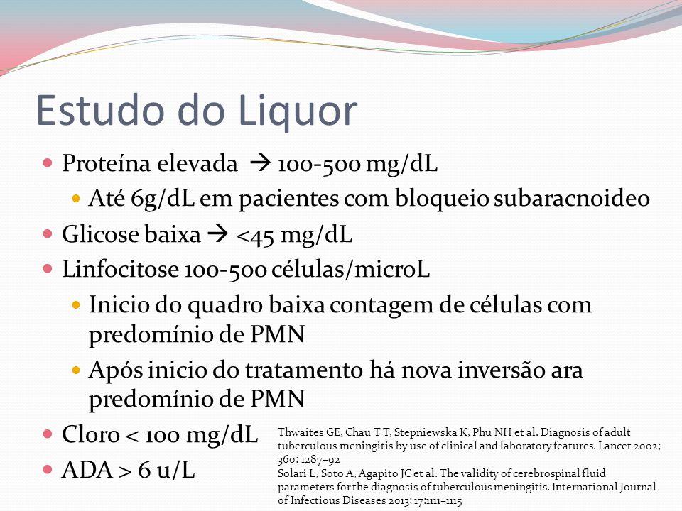 Estudo do Liquor Proteína elevada 100-500 mg/dL Até 6g/dL em pacientes com bloqueio subaracnoideo Glicose baixa <45 mg/dL Linfocitose 100-500 células/