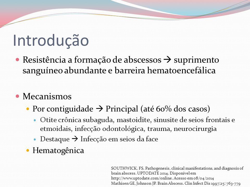 Introdução Resistência a formação de abscessos suprimento sanguíneo abundante e barreira hematoencefálica Mecanismos Por contiguidade Principal (até 6