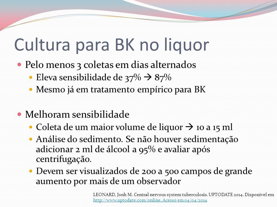 Cultura para BK no liquor Pelo menos 3 coletas em dias alternados Eleva sensibilidade de 37% 87% Mesmo já em tratamento empírico para BK Melhoram sens