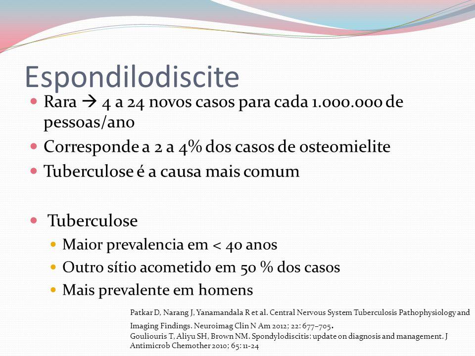 Espondilodiscite Rara 4 a 24 novos casos para cada 1.000.000 de pessoas/ano Corresponde a 2 a 4% dos casos de osteomielite Tuberculose é a causa mais