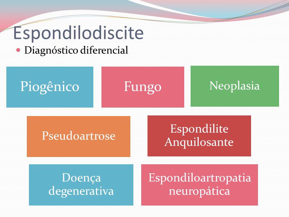 Espondilodiscite Diagnóstico diferencial PiogênicoFungo Neoplasia Pseudoartrose Espondilite Anquilosante Doença degenerativa Espondiloartropatia neuro