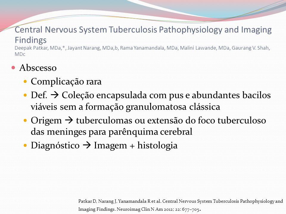 Abscesso Complicação rara Def. Coleção encapsulada com pus e abundantes bacilos viáveis sem a formação granulomatosa clássica Origem tuberculomas ou e