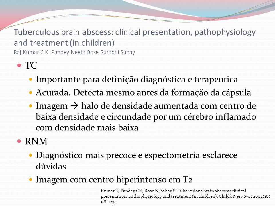 TC Importante para definição diagnóstica e terapeutica Acurada. Detecta mesmo antes da formação da cápsula Imagem halo de densidade aumentada com cent