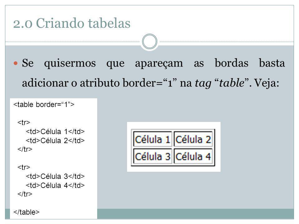 2.0 Criando tabelas Se quisermos que apareçam as bordas basta adicionar o atributo border=1 na tag table. Veja: Célula 1 Célula 2 Célula 3 Célula 4