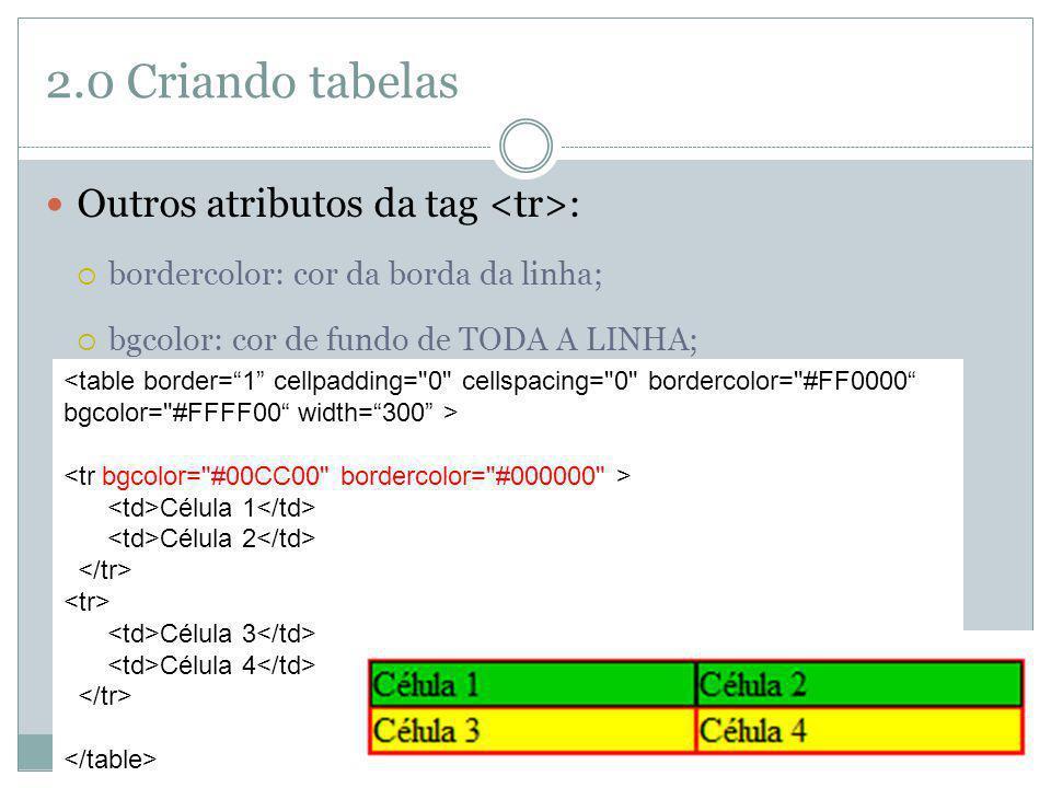 2.0 Criando tabelas Outros atributos da tag : bordercolor: cor da borda da linha; bgcolor: cor de fundo de TODA A LINHA; Célula 1 Célula 2 Célula 3 Cé
