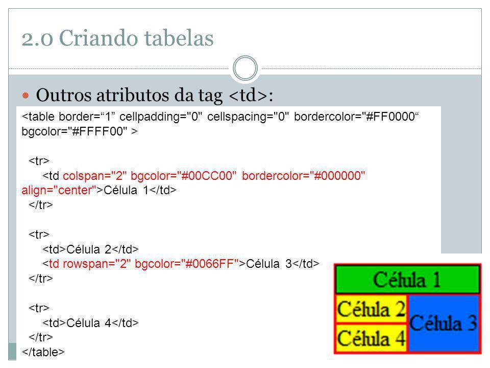 2.0 Criando tabelas Outros atributos da tag : colspan: mescla uma quantidade de colunas; rowspan: mescla uma quantidade de linhas; bordercolor: cor da