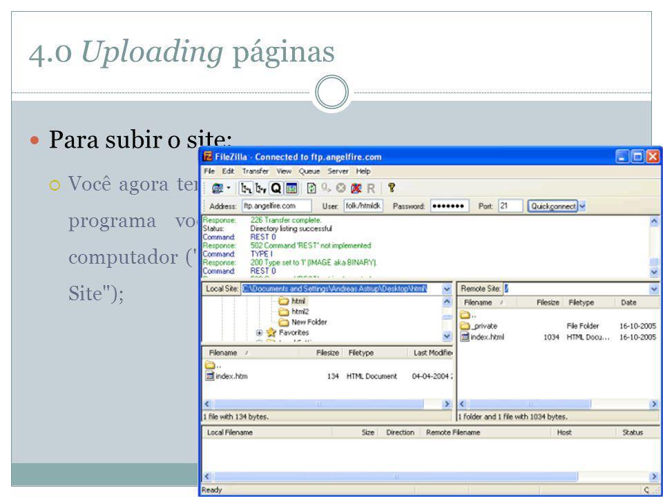 4.0 Uploading páginas Para subir o site: Você agora tem acesso ao servidor. Em um lado da janela do programa você verá os diretórios e arquivos do seu