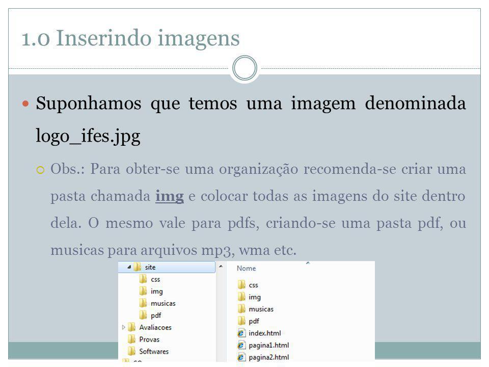 1.0 Inserindo imagens Voltando à nossa imagem denominada logo_ifes.jpg; Coloque a img dentro da pasta img; Para inserí-la na página do site basta colocar: O atributo alt serve para exibir um texto caso a imagem não carregue, ou caso o usuário seja deficiente visual; (Uso obrigatório!) Utilize o para exibir uma popup quando colocar mouse sobre a imagem.