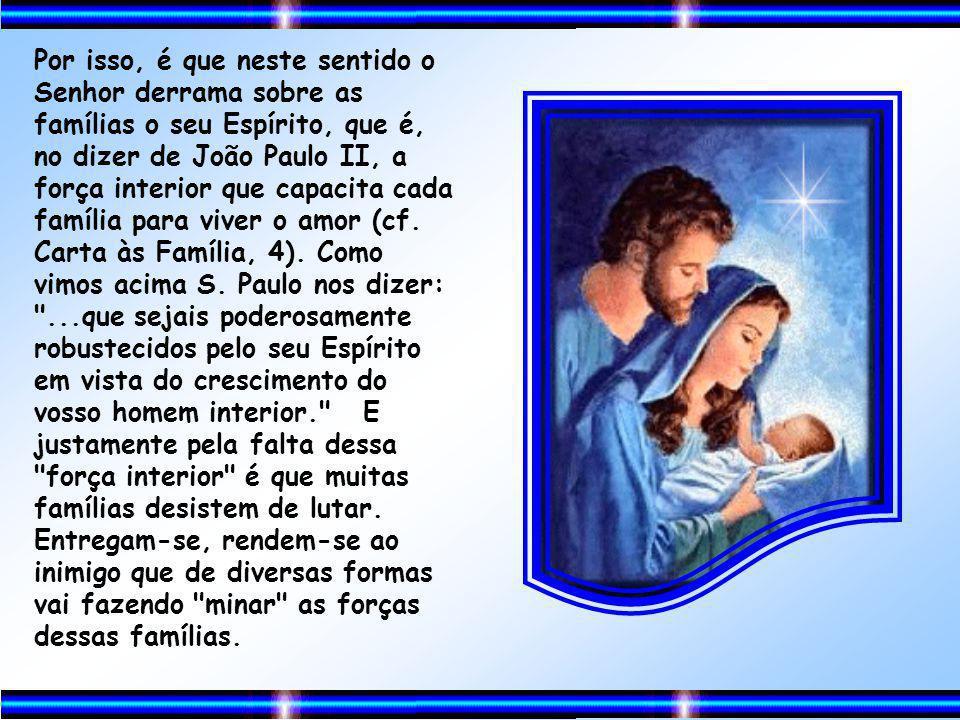 Ao contrário, nós é que temos de enquadrar nossas famílias ao projeto de Deus. Somente assim seremos famílias felizes. Só é feliz a família que vive p