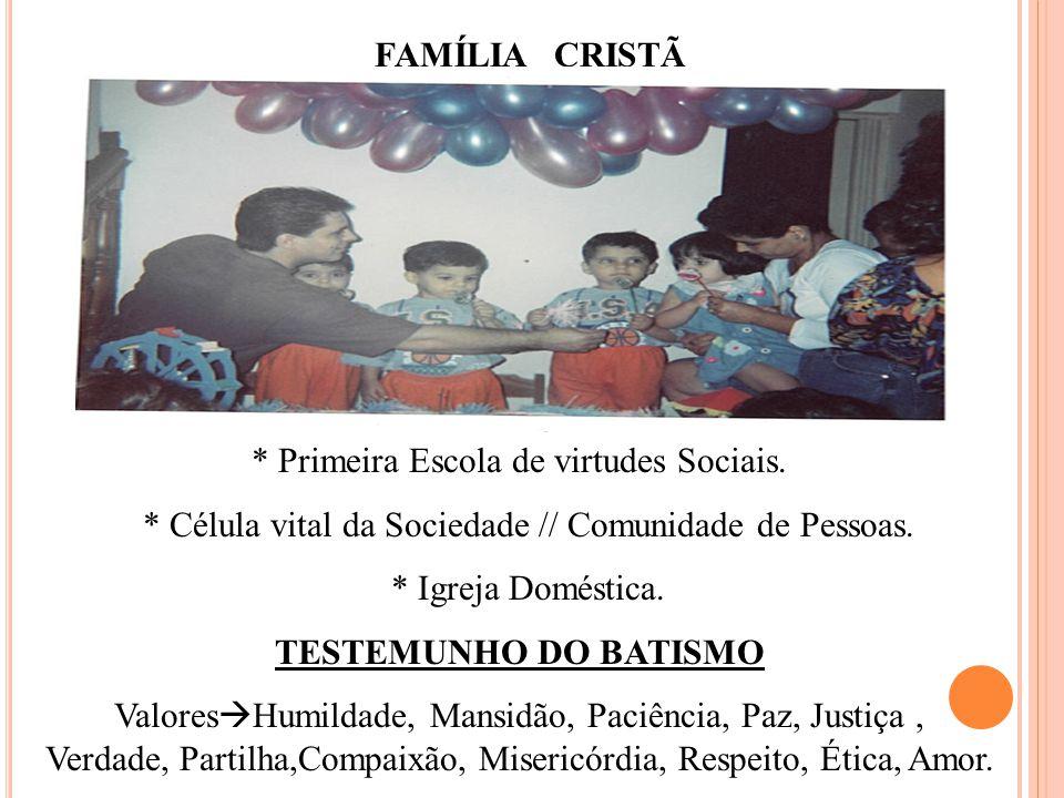 * Primeira Escola de virtudes Sociais.* Célula vital da Sociedade // Comunidade de Pessoas.
