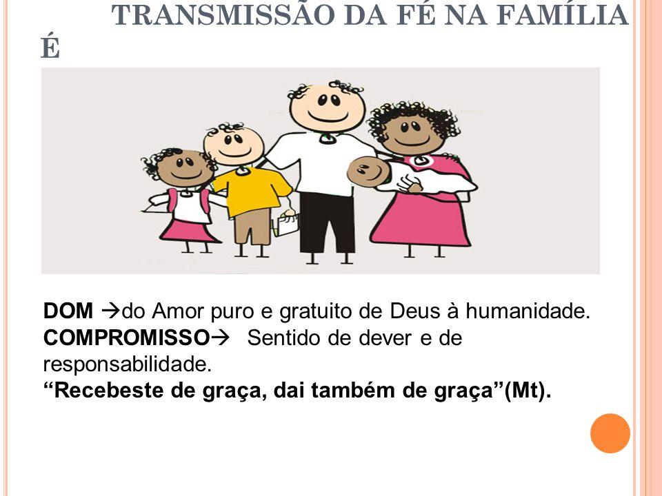 TRANSMISSÃO DA FÉ NA FAMÍLIA É DOM do Amor puro e gratuito de Deus à humanidade.