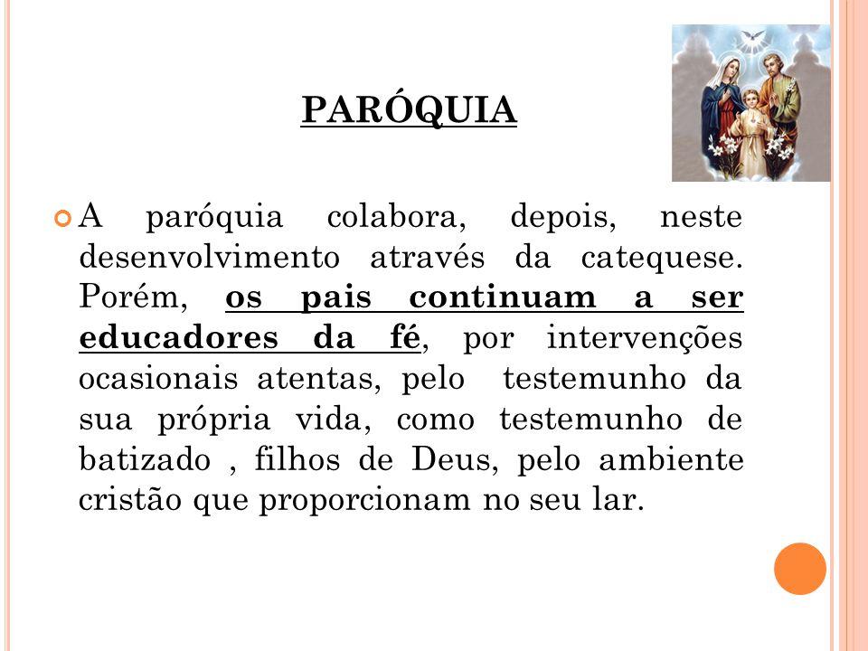 PARÓQUIA A paróquia colabora, depois, neste desenvolvimento através da catequese.