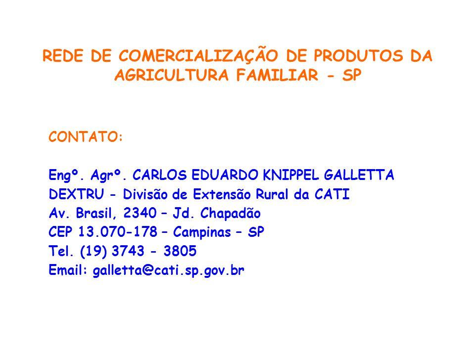 REDE DE COMERCIALIZAÇÃO DE PRODUTOS DA AGRICULTURA FAMILIAR - SP CONTATO: Engº.