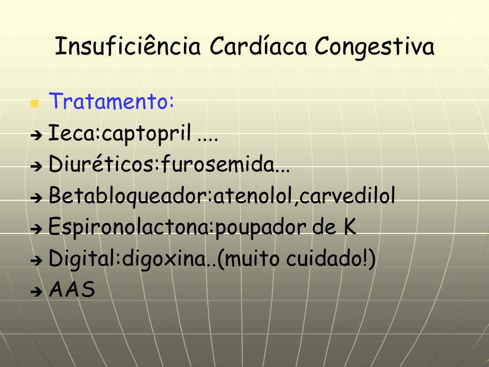 Insuficiência Cardíaca Congestiva Tratamento: Ieca:captopril.... Diuréticos:furosemida... Betabloqueador:atenolol,carvedilol Espironolactona:poupador