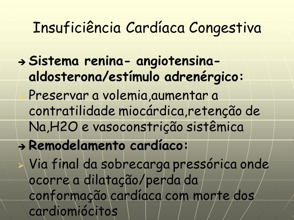 Insuficiência Cardíaca Congestiva Sistema renina- angiotensina- aldosterona/estímulo adrenérgico: Preservar a volemia,aumentar a contratilidade miocárdica,retenção de Na,H2O e vasoconstrição sistêmica Remodelamento cardíaco: Via final da sobrecarga pressórica onde ocorre a dilatação/perda da conformação cardíaca com morte dos cardiomiócitos