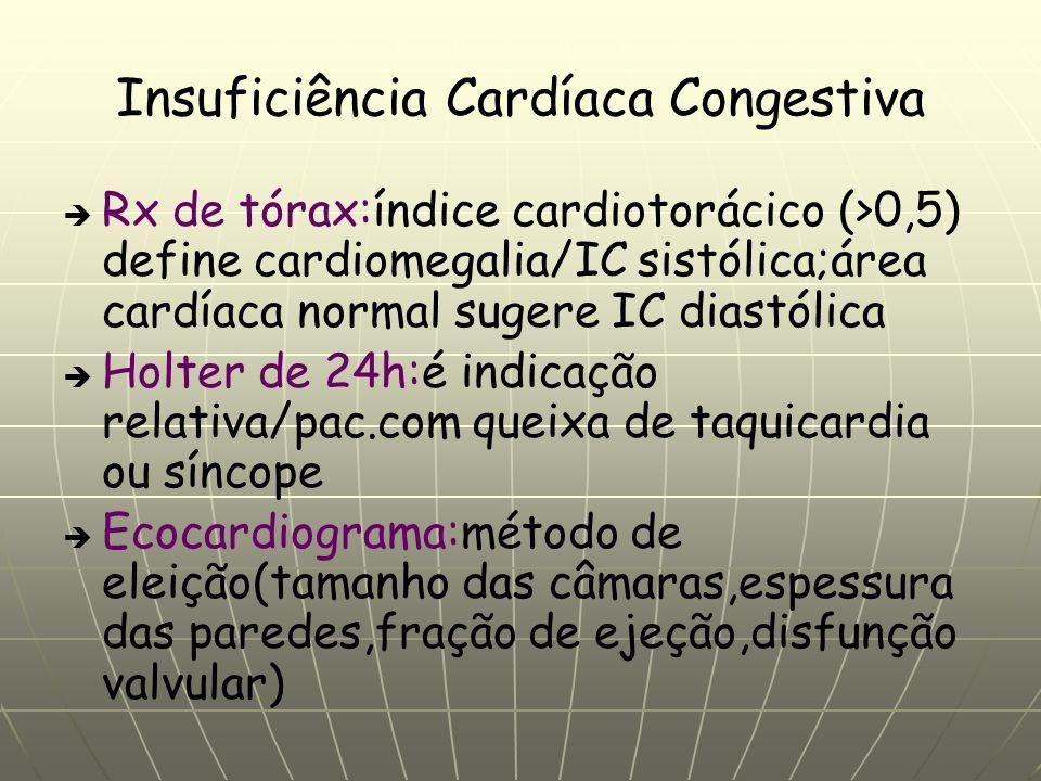 Insuficiência Cardíaca Congestiva Rx de tórax:índice cardiotorácico (>0,5) define cardiomegalia/IC sistólica;área cardíaca normal sugere IC diastólica Holter de 24h:é indicação relativa/pac.com queixa de taquicardia ou síncope Ecocardiograma:método de eleição(tamanho das câmaras,espessura das paredes,fração de ejeção,disfunção valvular)