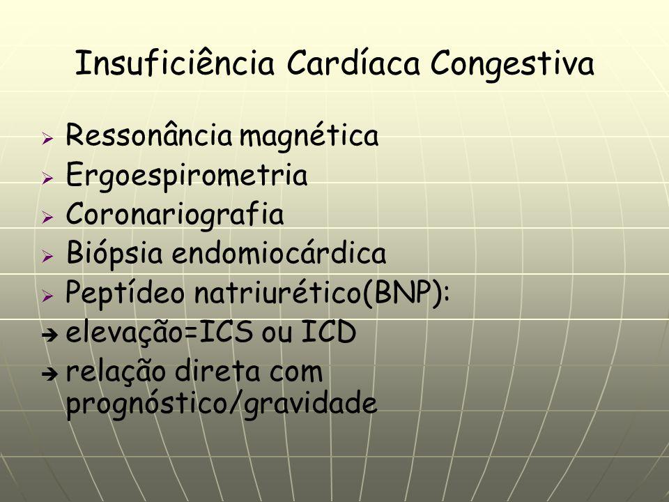Insuficiência Cardíaca Congestiva Ressonância magnética Ergoespirometria Coronariografia Biópsia endomiocárdica Peptídeo natriurético(BNP): elevação=ICS ou ICD relação direta com prognóstico/gravidade