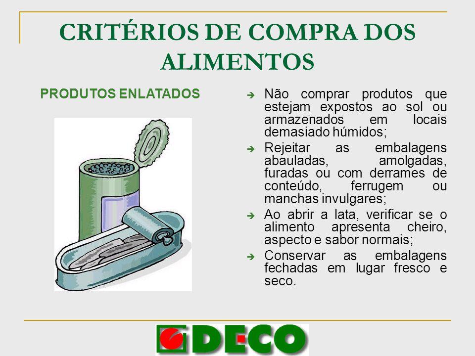 CRITÉRIOS DE COMPRA DOS ALIMENTOS Não comprar produtos que estejam expostos ao sol ou armazenados em locais demasiado húmidos; Rejeitar as embalagens