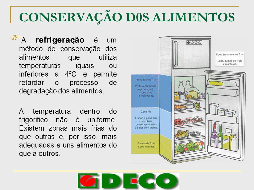CONSERVAÇÃO D0S ALIMENTOS A refrigeração é um método de conservação dos alimentos que utiliza temperaturas iguais ou inferiores a 4ºC e permite retard