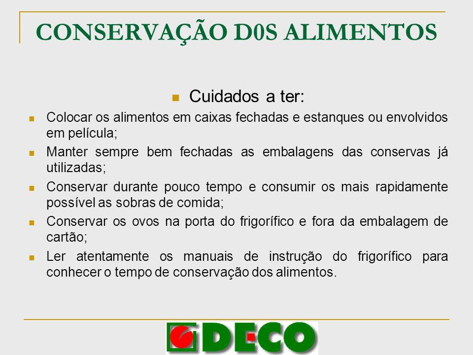 CONSERVAÇÃO D0S ALIMENTOS Cuidados a ter: Colocar os alimentos em caixas fechadas e estanques ou envolvidos em película; Manter sempre bem fechadas as