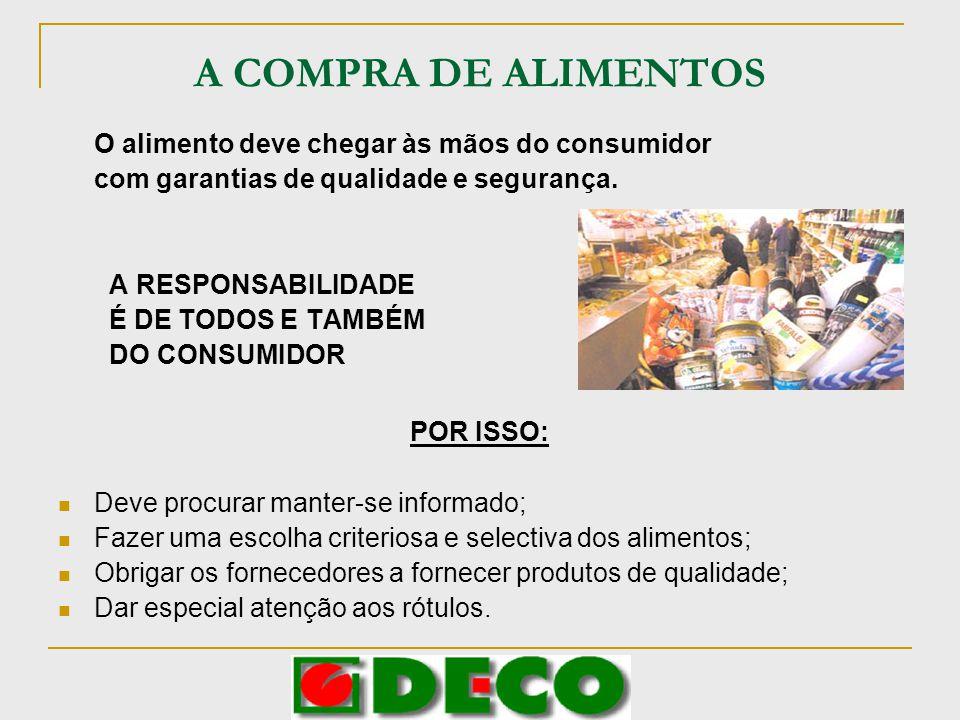 CRITÉRIOS DE COMPRA DOS ALIMENTOS Deve incluir-se na alimentação arroz, massas, pão e outros cereais.
