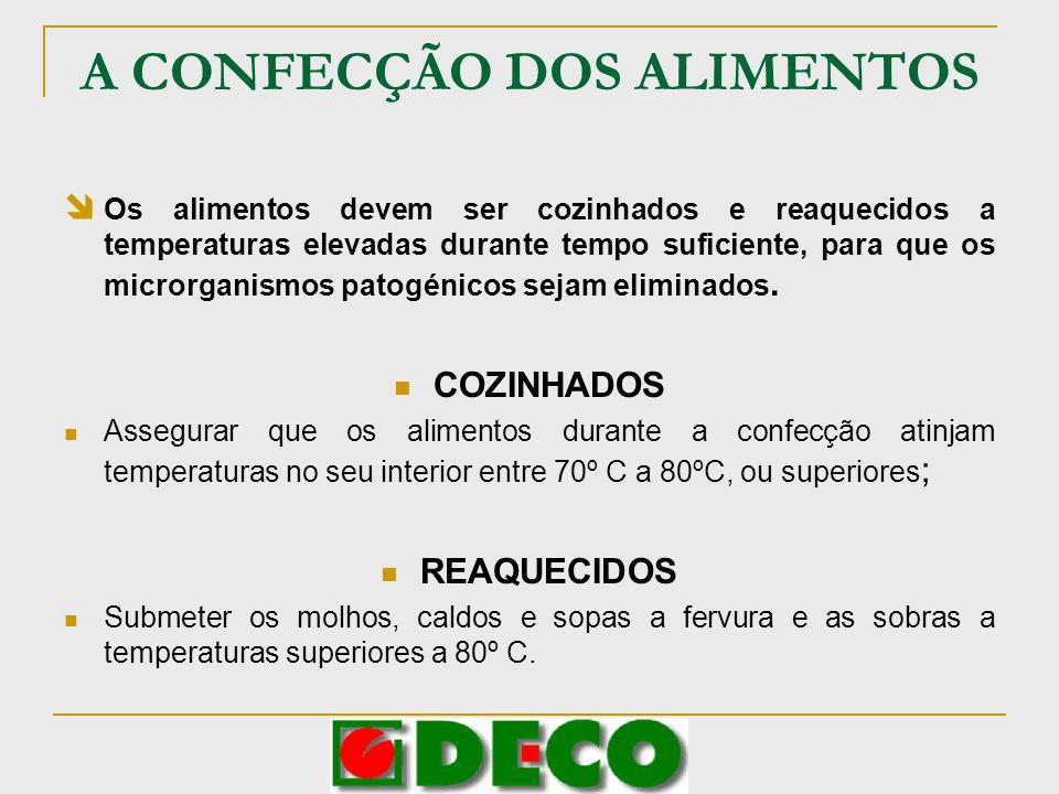 A CONFECÇÃO DOS ALIMENTOS Os alimentos devem ser cozinhados e reaquecidos a temperaturas elevadas durante tempo suficiente, para que os microrganismos