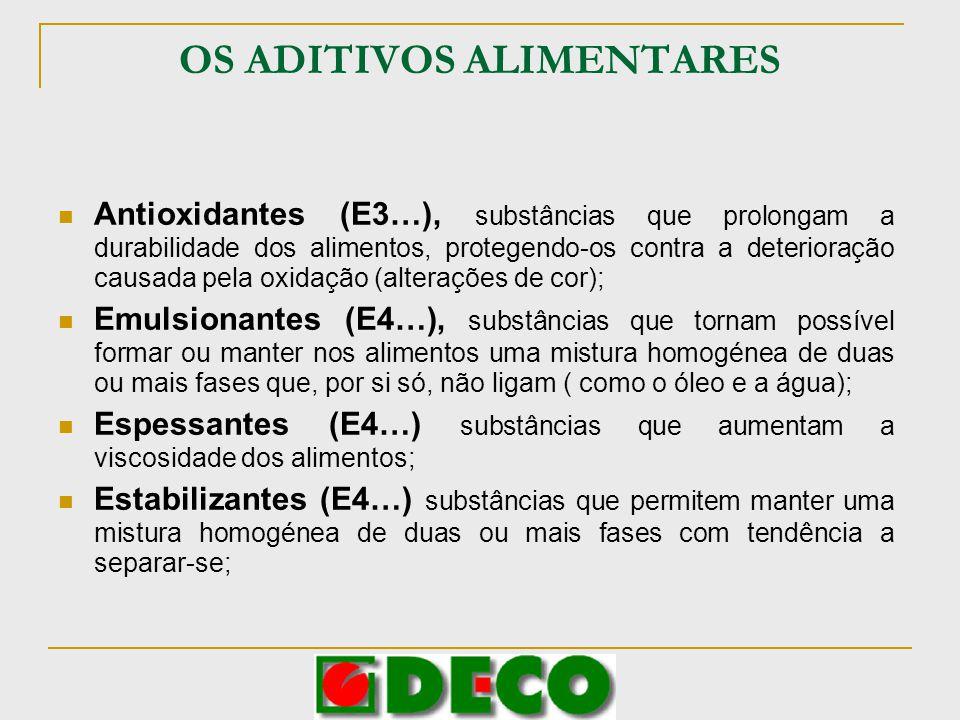 OS ADITIVOS ALIMENTARES Antioxidantes (E3…), substâncias que prolongam a durabilidade dos alimentos, protegendo-os contra a deterioração causada pela