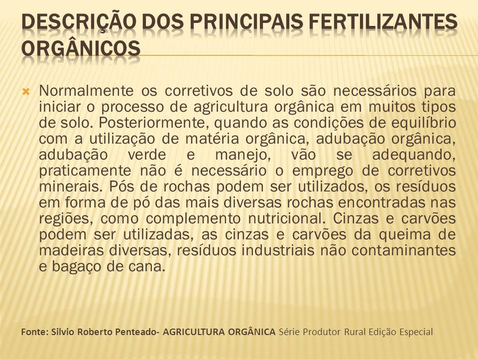 Normalmente os corretivos de solo são necessários para iniciar o processo de agricultura orgânica em muitos tipos de solo. Posteriormente, quando as c