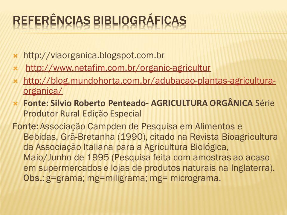 http://viaorganica.blogspot.com.br http://www.netafim.com.br/organic-agricultur http://blog.mundohorta.com.br/adubacao-plantas-agricultura- organica/
