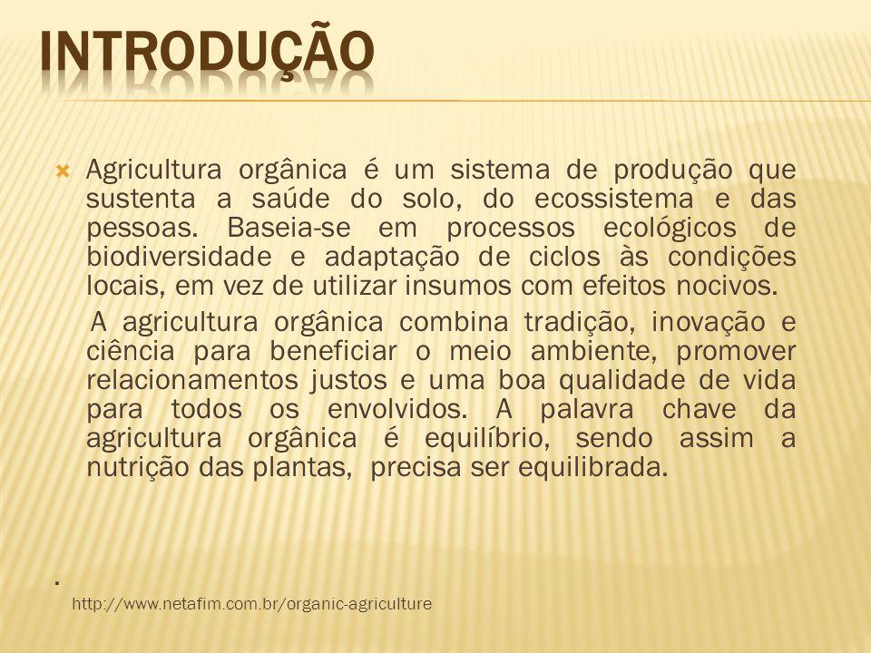 Agricultura orgânica é um sistema de produção que sustenta a saúde do solo, do ecossistema e das pessoas. Baseia-se em processos ecológicos de biodive