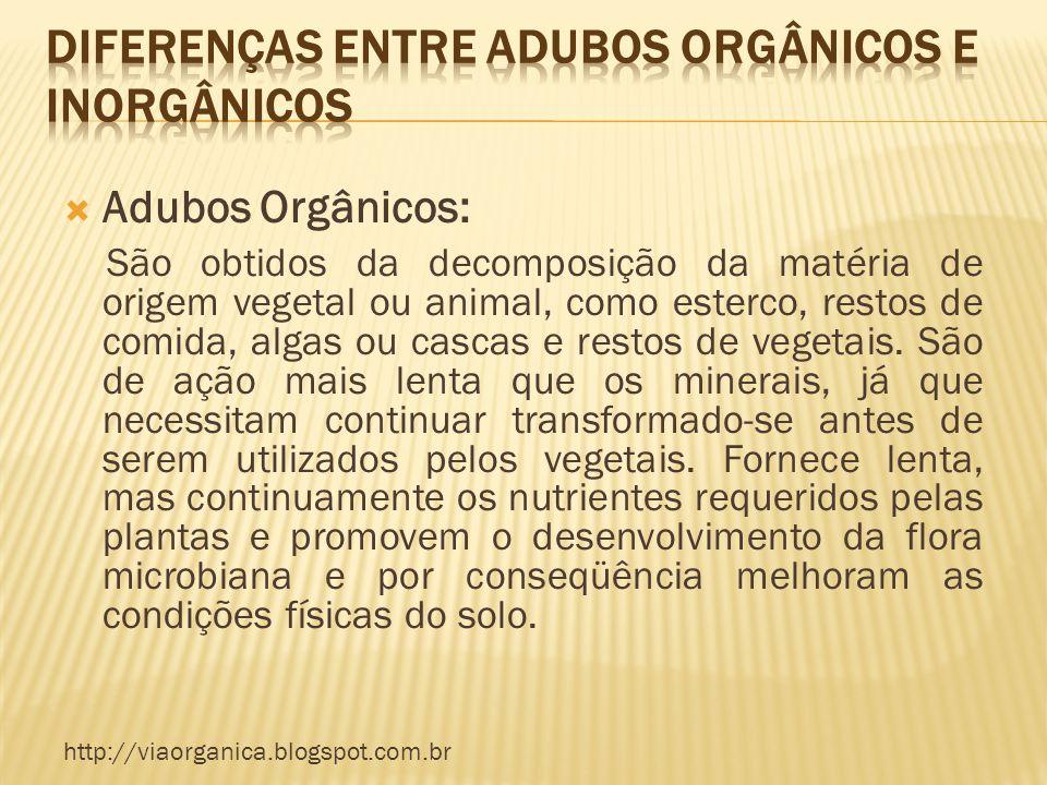 Adubos Orgânicos: São obtidos da decomposição da matéria de origem vegetal ou animal, como esterco, restos de comida, algas ou cascas e restos de vege