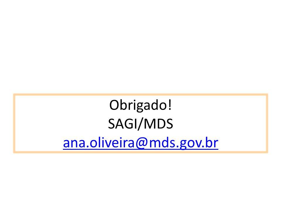 Obrigado! SAGI/MDS ana.oliveira@mds.gov.br ana.oliveira@mds.gov.br
