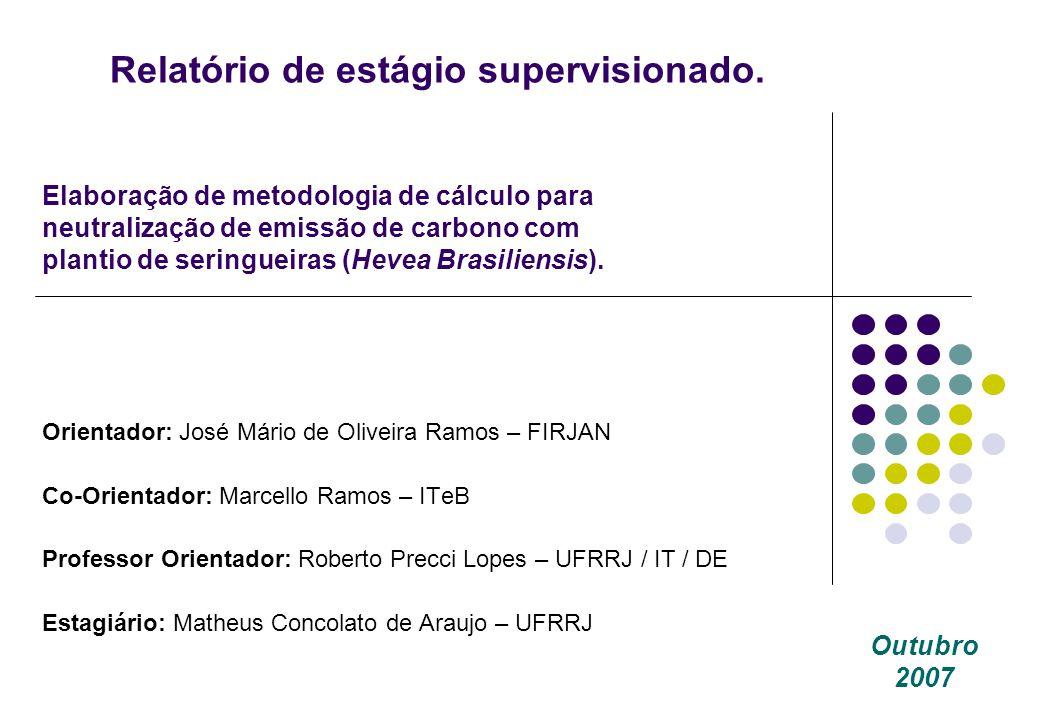 Relatório de estágio supervisionado. Orientador: José Mário de Oliveira Ramos – FIRJAN Co-Orientador: Marcello Ramos – ITeB Professor Orientador: Robe