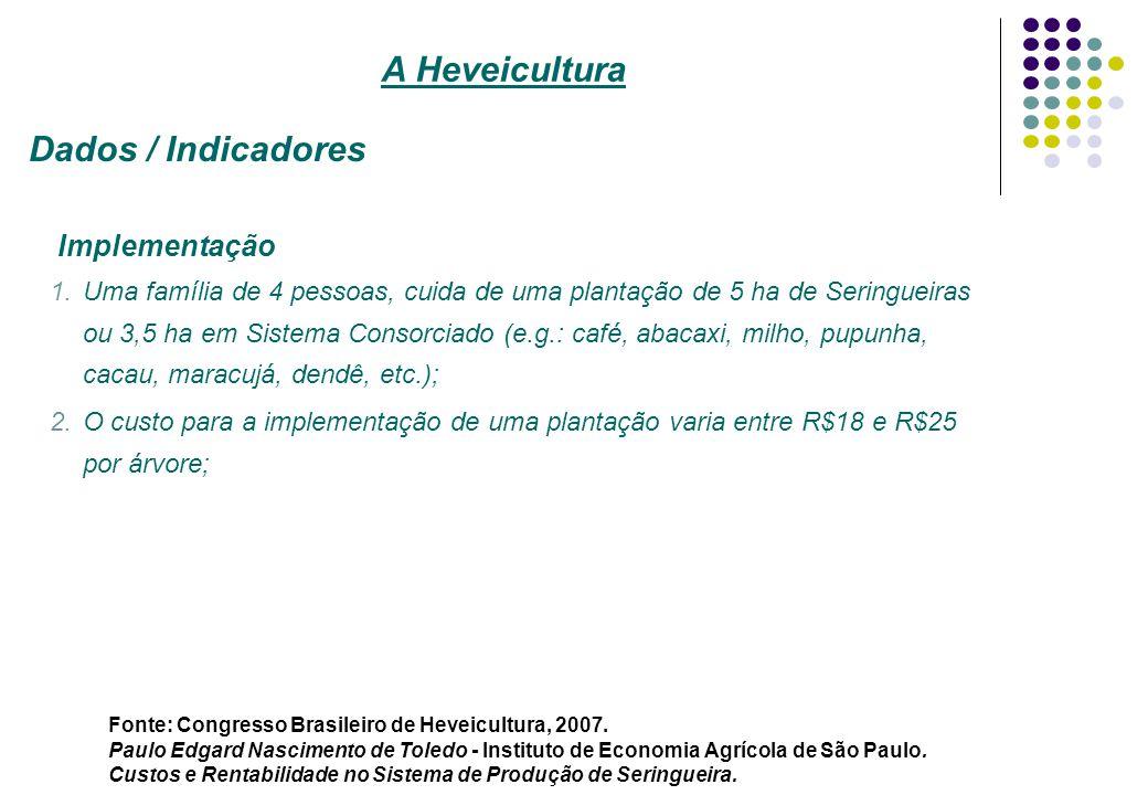 Implementação 1.Uma família de 4 pessoas, cuida de uma plantação de 5 ha de Seringueiras ou 3,5 ha em Sistema Consorciado (e.g.: café, abacaxi, milho,