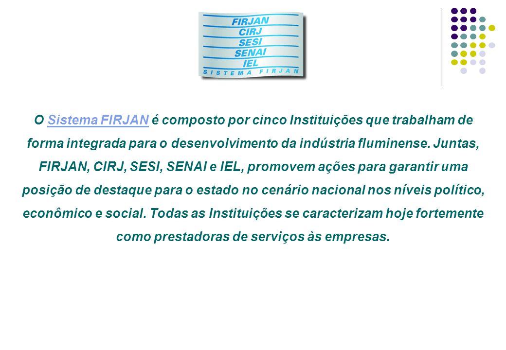 O Sistema FIRJAN é composto por cinco Instituições que trabalham de forma integrada para o desenvolvimento da indústria fluminense. Juntas, FIRJAN, CI