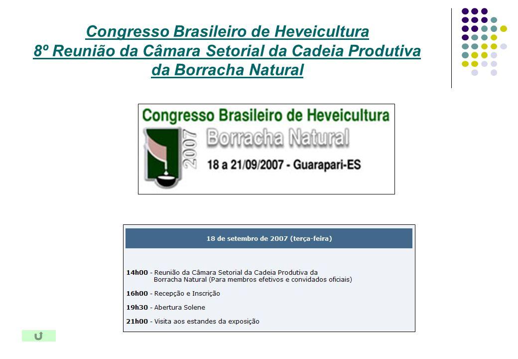 Congresso Brasileiro de Heveicultura 8º Reunião da Câmara Setorial da Cadeia Produtiva da Borracha Natural