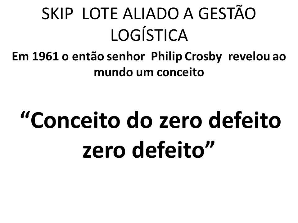 SKIP LOTE ALIADO A GESTÃO LOGÍSTICA Em 1961 o então senhor Philip Crosby revelou ao mundo um conceito Conceito do zero defeito zero defeito