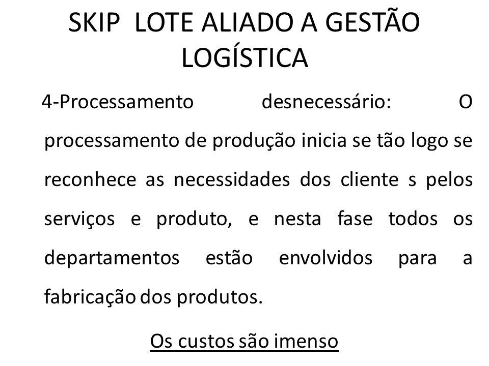 SKIP LOTE ALIADO A GESTÃO LOGÍSTICA 4-Processamento desnecessário: O processamento de produção inicia se tão logo se reconhece as necessidades dos cli