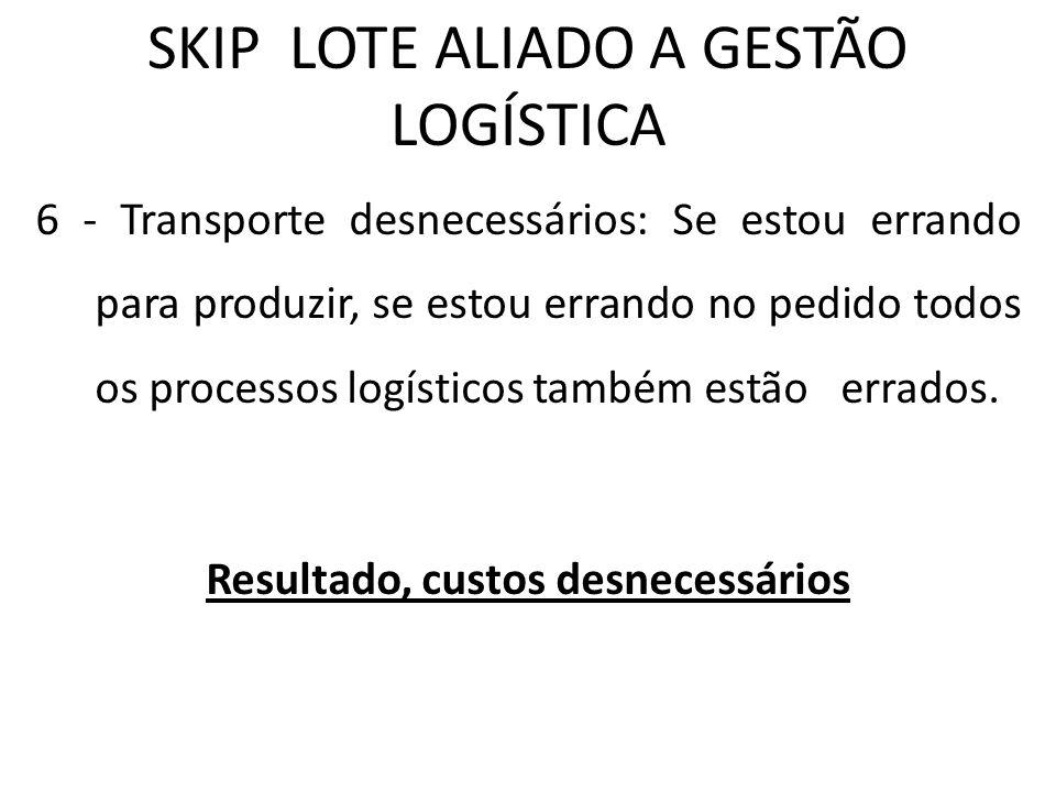 SKIP LOTE ALIADO A GESTÃO LOGÍSTICA 6 - Transporte desnecessários: Se estou errando para produzir, se estou errando no pedido todos os processos logís
