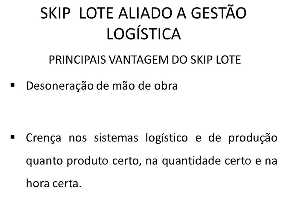 SKIP LOTE ALIADO A GESTÃO LOGÍSTICA PRINCIPAIS VANTAGEM DO SKIP LOTE Desoneração de mão de obra Crença nos sistemas logístico e de produção quanto pro